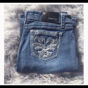 Grace in LA Bling Pocket Bootcut Jeans Size 30